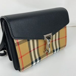 New Burberry Mini Leather and Check Crossbody Bag